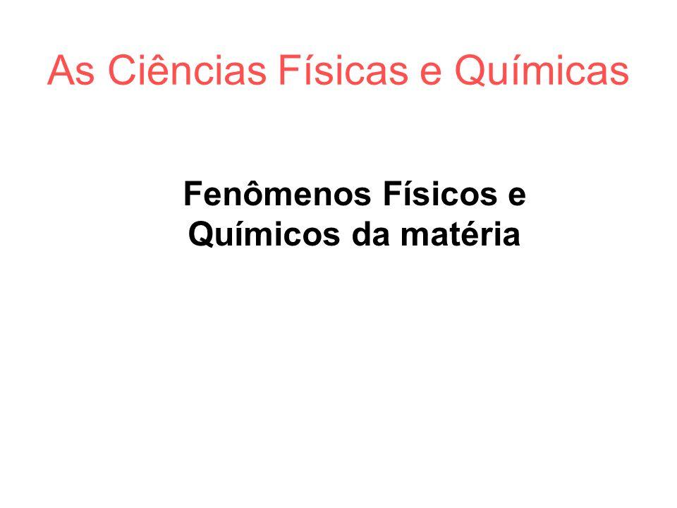 As Ciências Físicas e Químicas Fenômenos Físicos e Químicos da matéria
