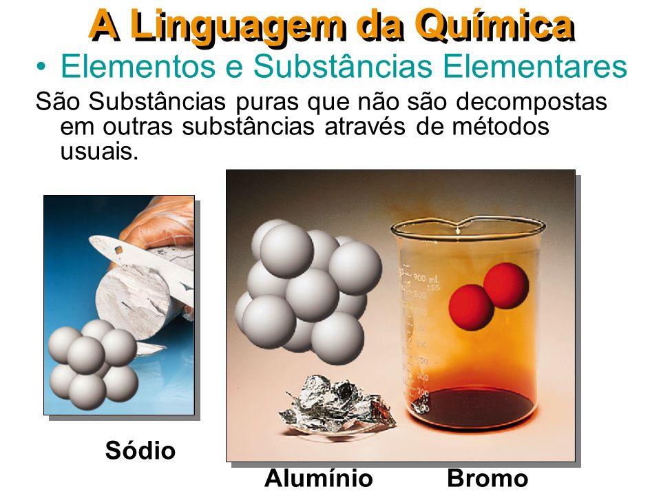 A Linguagem da Química Elementos e Substâncias Elementares São Substâncias puras que não são decompostas em outras substâncias através de métodos usuais.