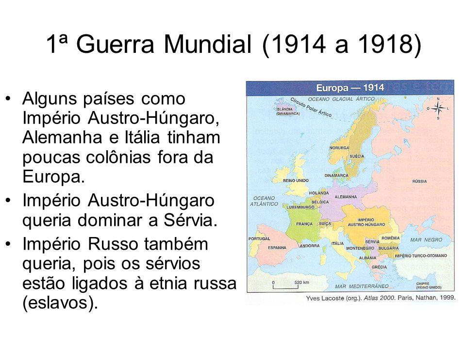1ª Guerra Mundial (1914 a 1918) Alguns países como Império Austro-Húngaro, Alemanha e Itália tinham poucas colônias fora da Europa. Império Austro-Hún