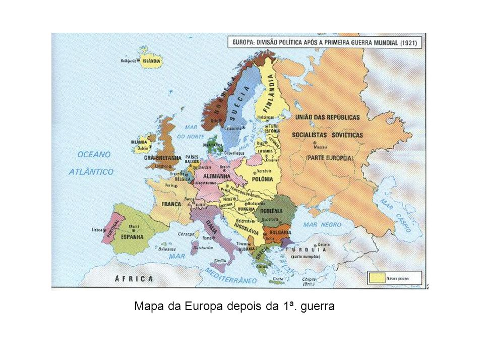 Mapa da Europa depois da 1ª. guerra