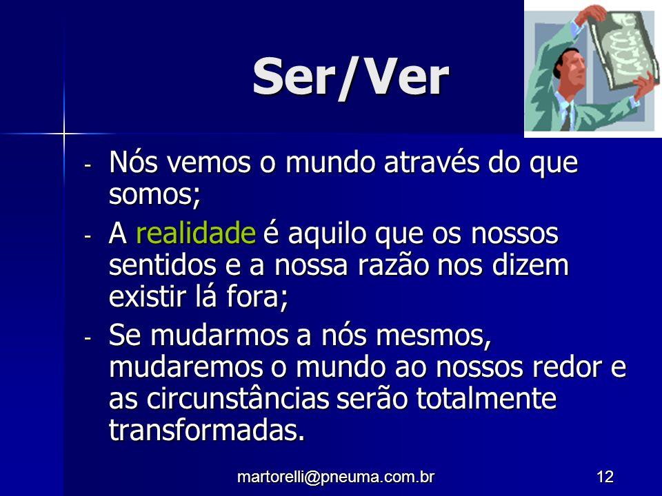 martorelli@pneuma.com.br12 Ser/Ver - Nós vemos o mundo através do que somos; - A realidade é aquilo que os nossos sentidos e a nossa razão nos dizem e
