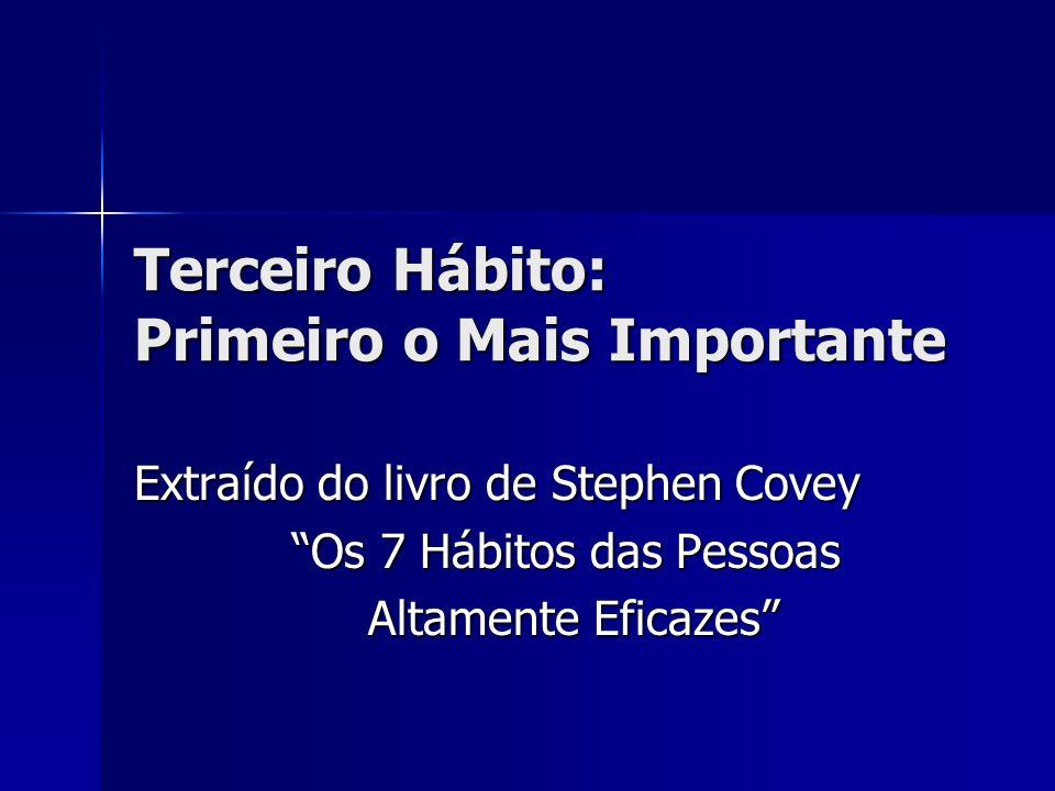 Terceiro Hábito: Primeiro o Mais Importante Extraído do livro de Stephen Covey Os 7 Hábitos das Pessoas Altamente Eficazes Altamente Eficazes