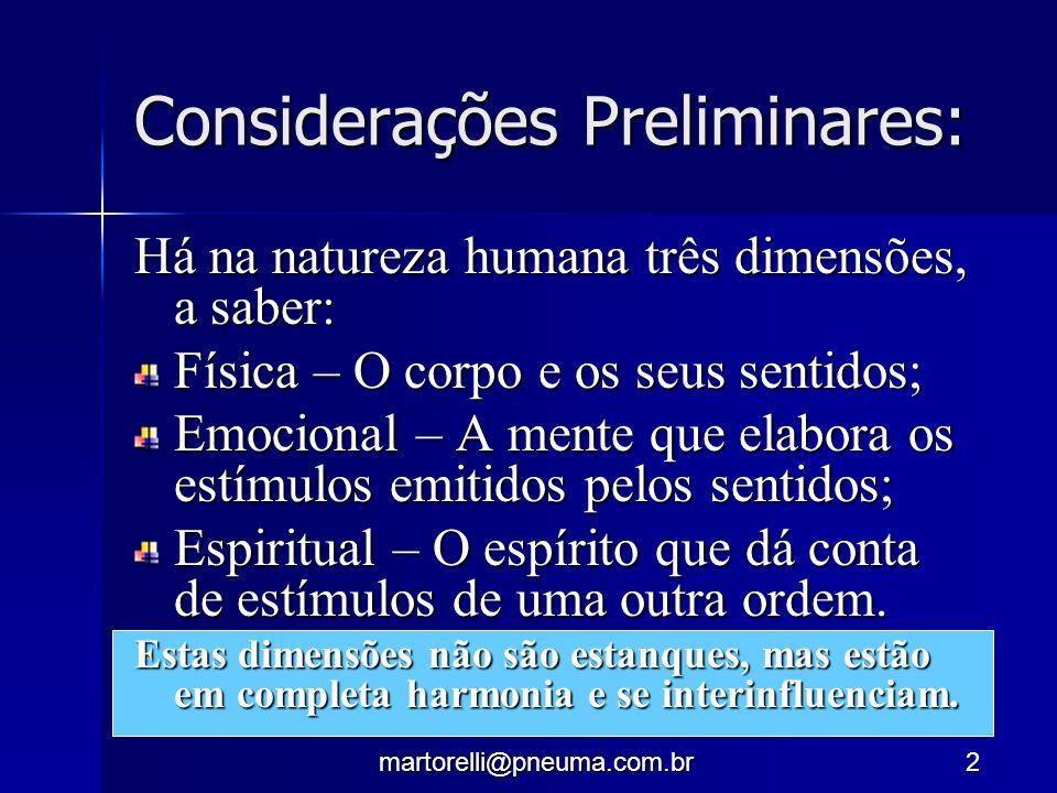 martorelli@pneuma.com.br2 Considerações Preliminares: Há na natureza humana três dimensões, a saber: Física – O corpo e os seus sentidos; Emocional –