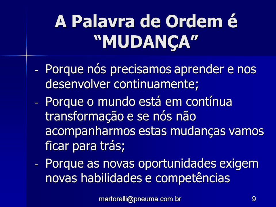 martorelli@pneuma.com.br9 A Palavra de Ordem é MUDANÇA - Porque nós precisamos aprender e nos desenvolver continuamente; - Porque o mundo está em cont