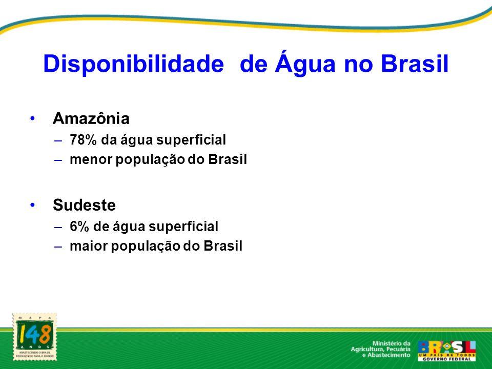 Disponibilidade de Água no Brasil Amazônia –78% da água superficial –menor população do Brasil Sudeste –6% de água superficial –maior população do Bra