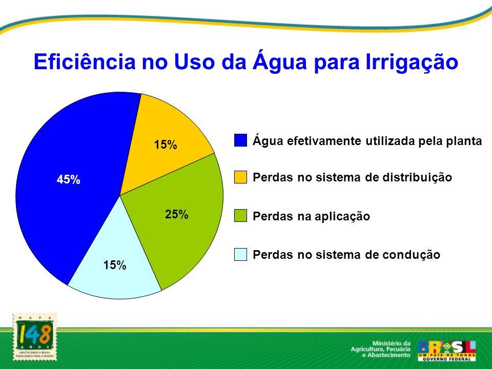 Eficiência no Uso da Água para Irrigação Água efetivamente utilizada pela planta Perdas no sistema de distribuição Perdas na aplicação Perdas no siste