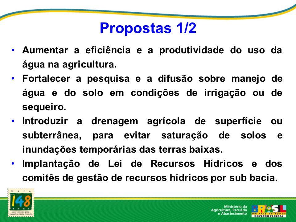 Propostas 1/2 Aumentar a eficiência e a produtividade do uso da água na agricultura. Fortalecer a pesquisa e a difusão sobre manejo de água e do solo