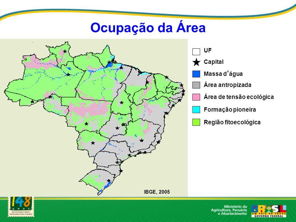 Ocupação da Área UF Capital Massa d água Área antropizada Área de tensão ecológica Formação pioneira Região fitoecológica IBGE, 2005