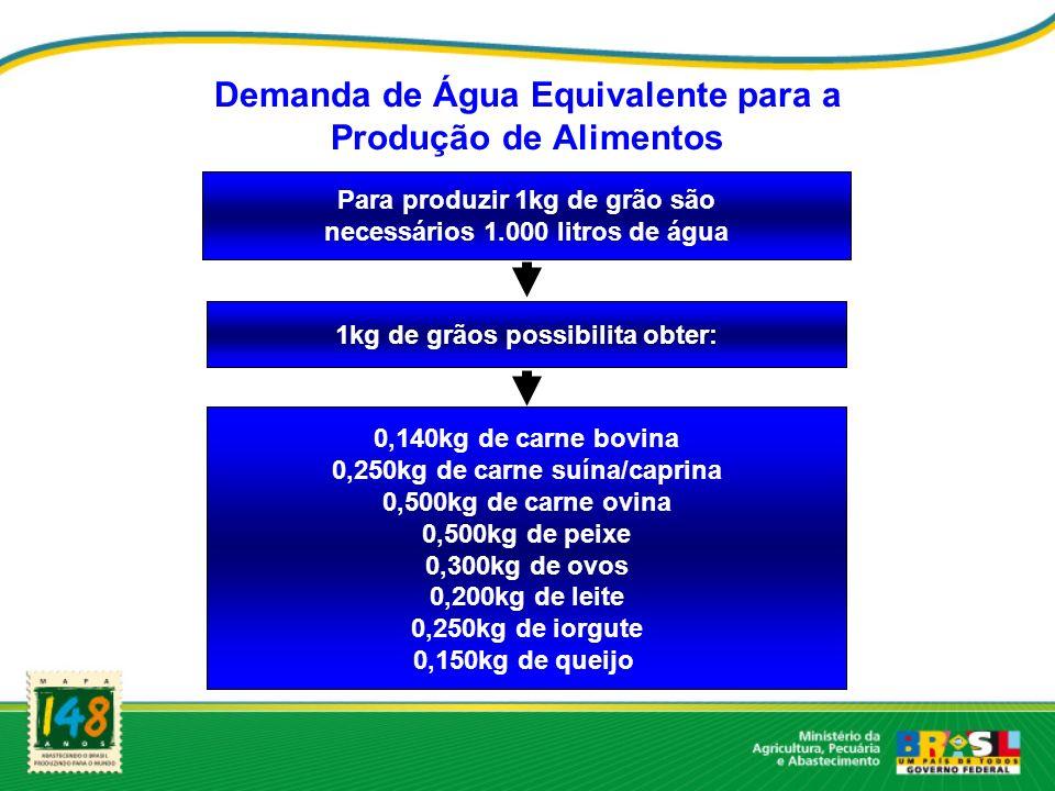 Demanda de Água Equivalente para a Produção de Alimentos Para produzir 1kg de grão são necessários 1.000 litros de água 1kg de grãos possibilita obter