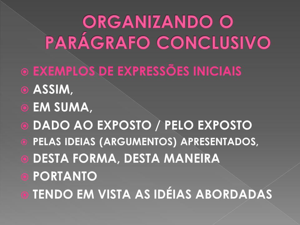 EXEMPLOS DE EXPRESSÕES INICIAIS ASSIM, EM SUMA, DADO AO EXPOSTO / PELO EXPOSTO PELAS IDEIAS (ARGUMENTOS) APRESENTADOS, DESTA FORMA, DESTA MANEIRA PORT