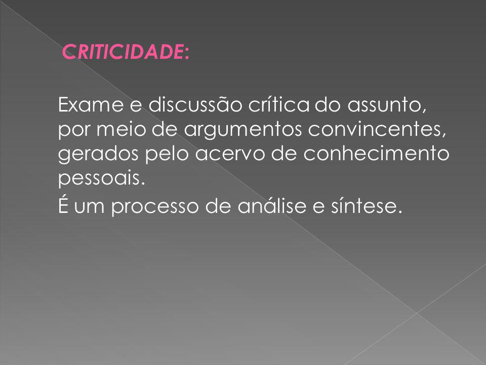 Exame e discussão crítica do assunto, por meio de argumentos convincentes, gerados pelo acervo de conhecimento pessoais.