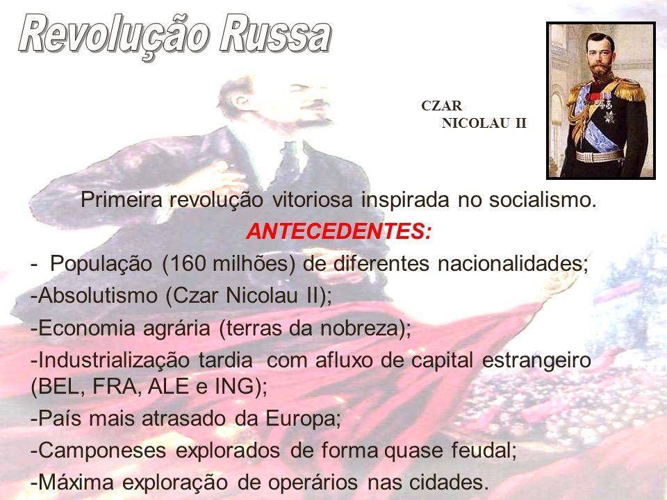 Primeira revolução vitoriosa inspirada no socialismo. ANTECEDENTES: - População (160 milhões) de diferentes nacionalidades; -Absolutismo (Czar Nicolau