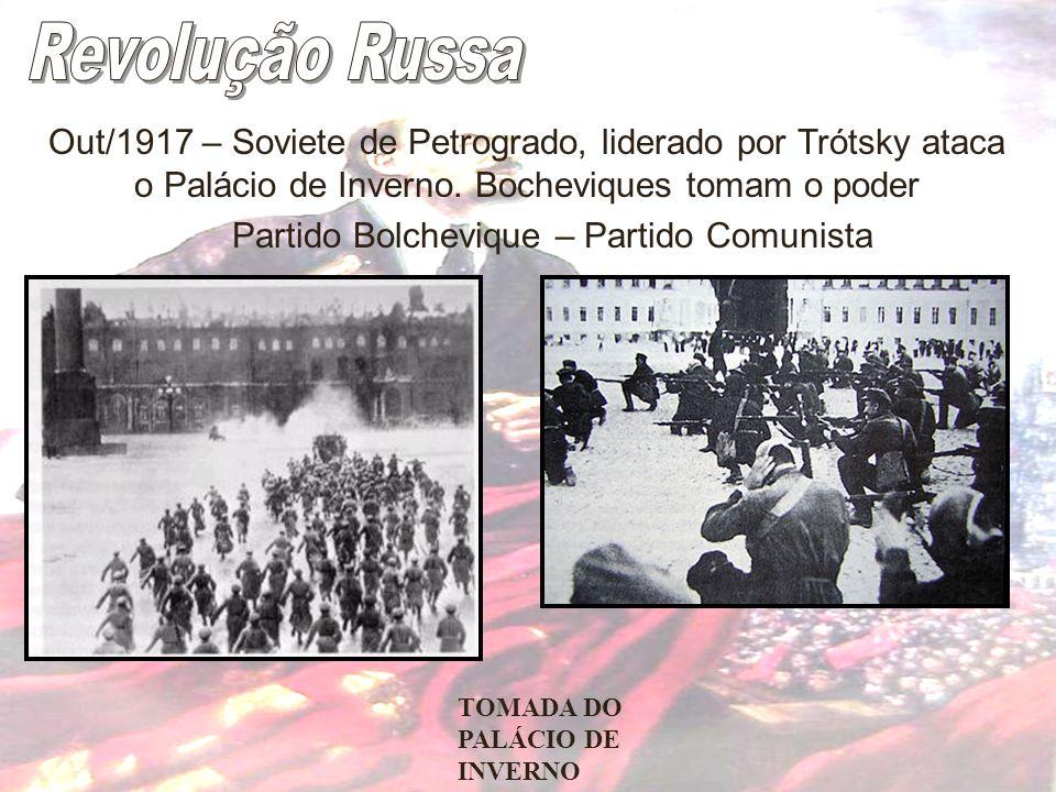 Out/1917 – Soviete de Petrogrado, liderado por Trótsky ataca o Palácio de Inverno. Bocheviques tomam o poder Partido Bolchevique – Partido Comunista T