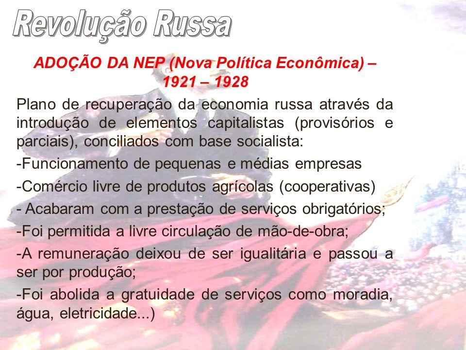 ADOÇÃO DA NEP (Nova Política Econômica) – 1921 – 1928 Plano de recuperação da economia russa através da introdução de elementos capitalistas (provisór