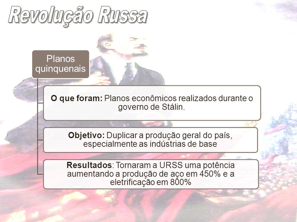 Planos quinquenais O que foram: Planos econômicos realizados durante o governo de Stálin. Objetivo: Duplicar a produção geral do país, especialmente a