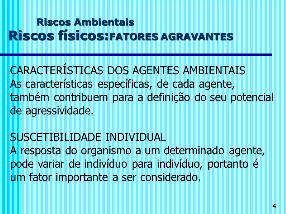 4 Riscos Ambientais Riscos físicos: FATORES AGRAVANTES CARACTERÍSTICAS DOS AGENTES AMBIENTAIS As características específicas, de cada agente, também c