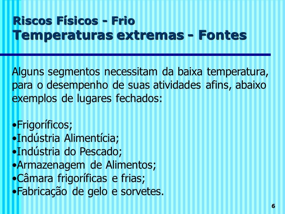 6 Riscos Físicos - Frio Temperaturas extremas - Fontes Alguns segmentos necessitam da baixa temperatura, para o desempenho de suas atividades afins, a