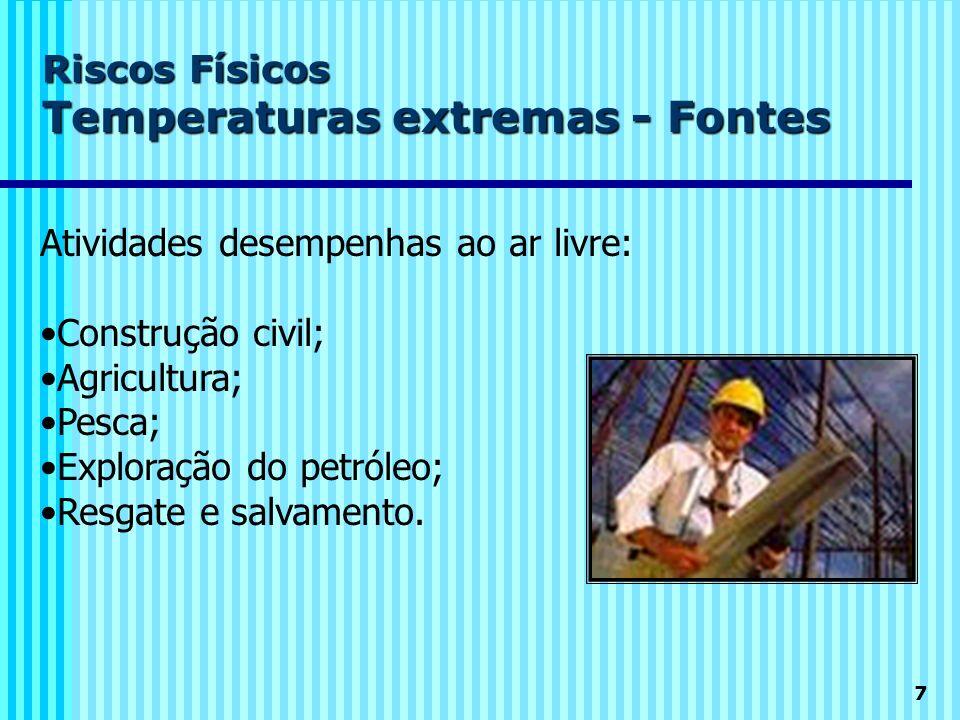 7 Riscos Físicos Temperaturas extremas - Fontes Atividades desempenhas ao ar livre: Construção civil; Agricultura; Pesca; Exploração do petróleo; Resg