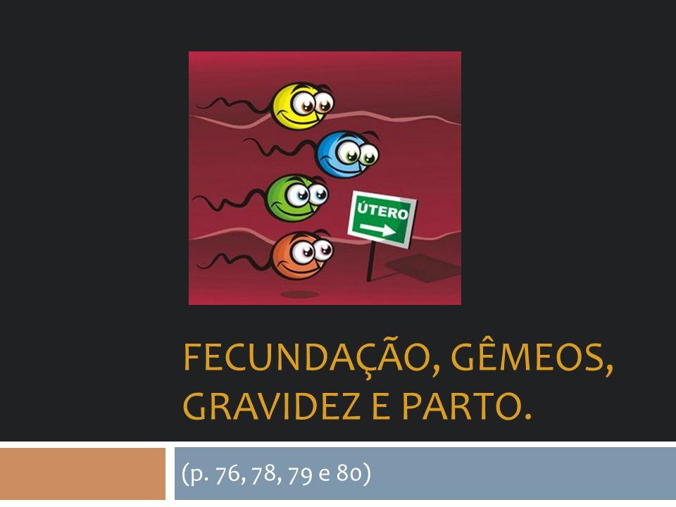 FECUNDAÇÃO, GÊMEOS, GRAVIDEZ E PARTO. (p. 76, 78, 79 e 80)
