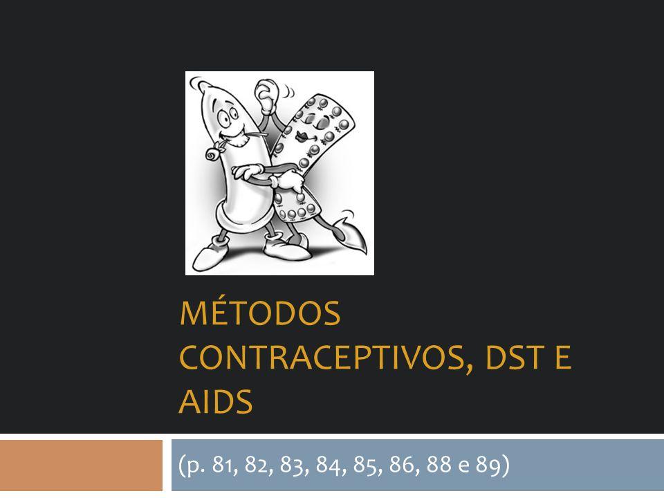 MÉTODOS CONTRACEPTIVOS, DST E AIDS (p. 81, 82, 83, 84, 85, 86, 88 e 89)