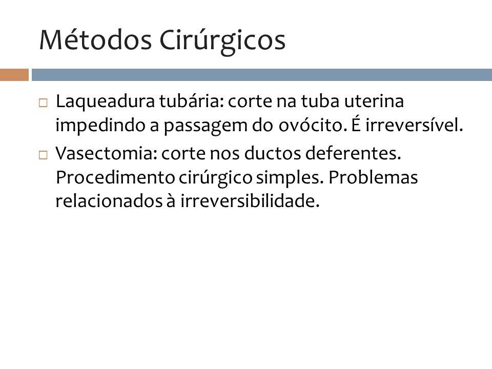 Métodos Cirúrgicos Laqueadura tubária: corte na tuba uterina impedindo a passagem do ovócito. É irreversível. Vasectomia: corte nos ductos deferentes.