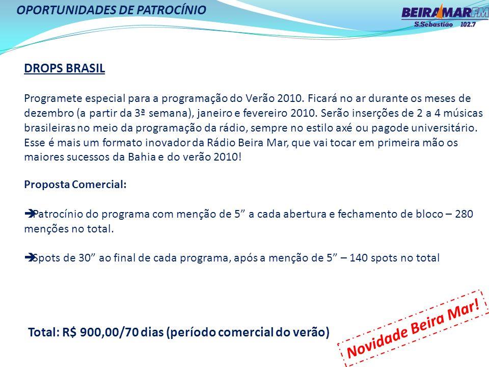 OPORTUNIDADES DE PATROCÍNIO DROPS BRASIL Programete especial para a programação do Verão 2010. Ficará no ar durante os meses de dezembro (a partir da