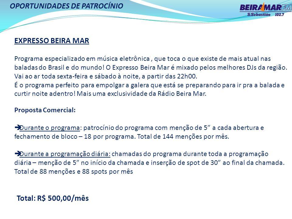 OPORTUNIDADES DE PATROCÍNIO EXPRESSO BEIRA MAR Programa especializado em música eletrônica, que toca o que existe de mais atual nas baladas do Brasil