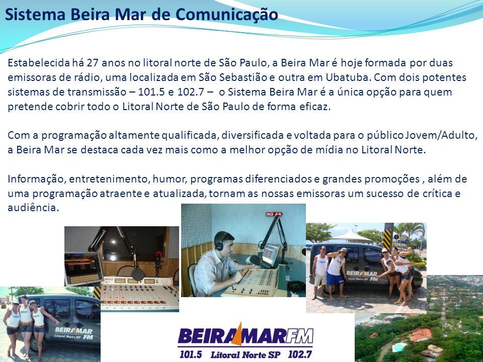 Sistema Beira Mar de Comunicação Estabelecida há 27 anos no litoral norte de São Paulo, a Beira Mar é hoje formada por duas emissoras de rádio, uma lo