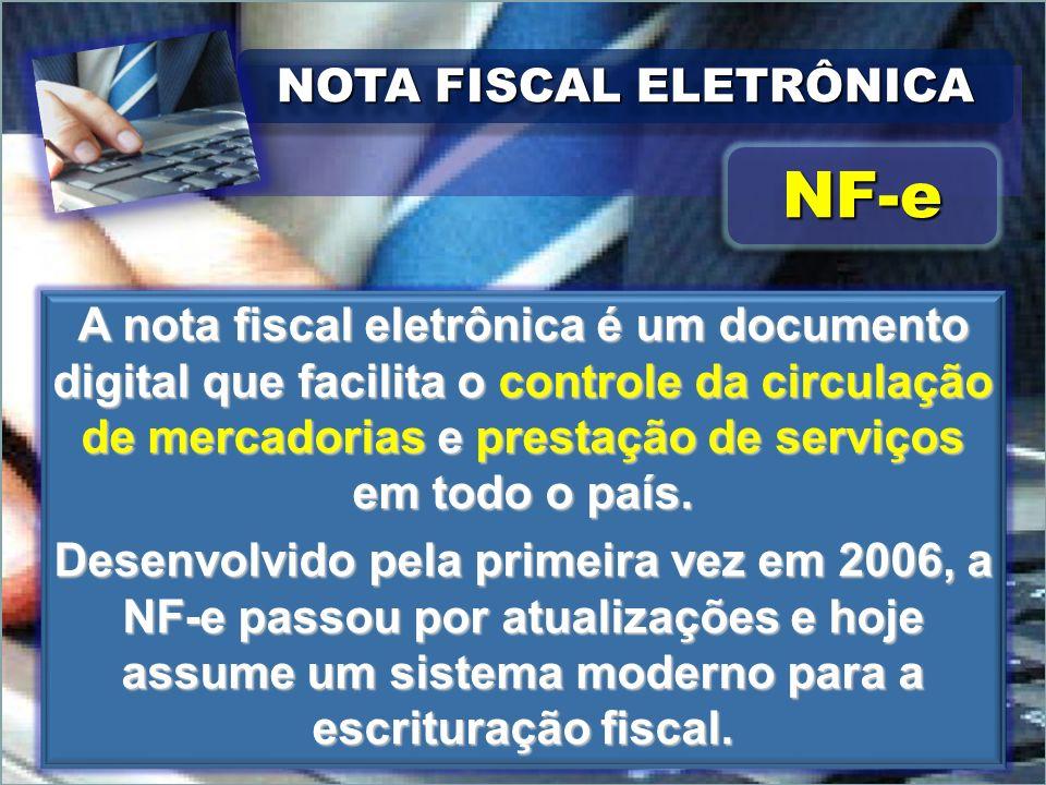 NOTA FISCAL ELETRÔNICA NF-eNF-e A nota fiscal eletrônica é um documento digital que facilita o controle da circulação de mercadorias e prestação de se