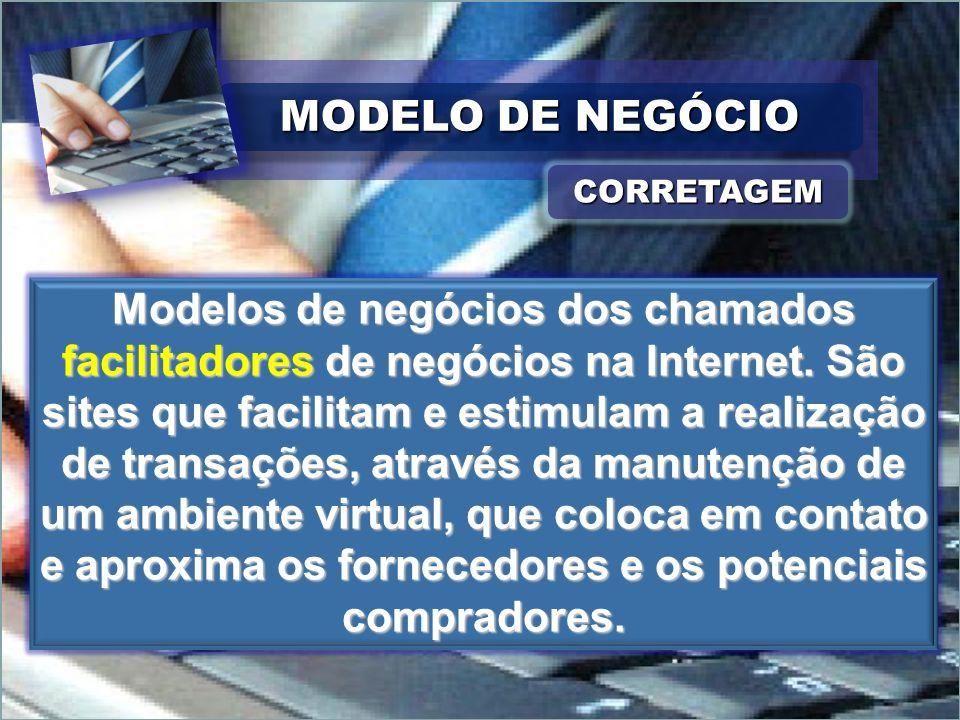 CORRETAGEMCORRETAGEM Modelos de negócios dos chamados facilitadores de negócios na Internet. São sites que facilitam e estimulam a realização de trans