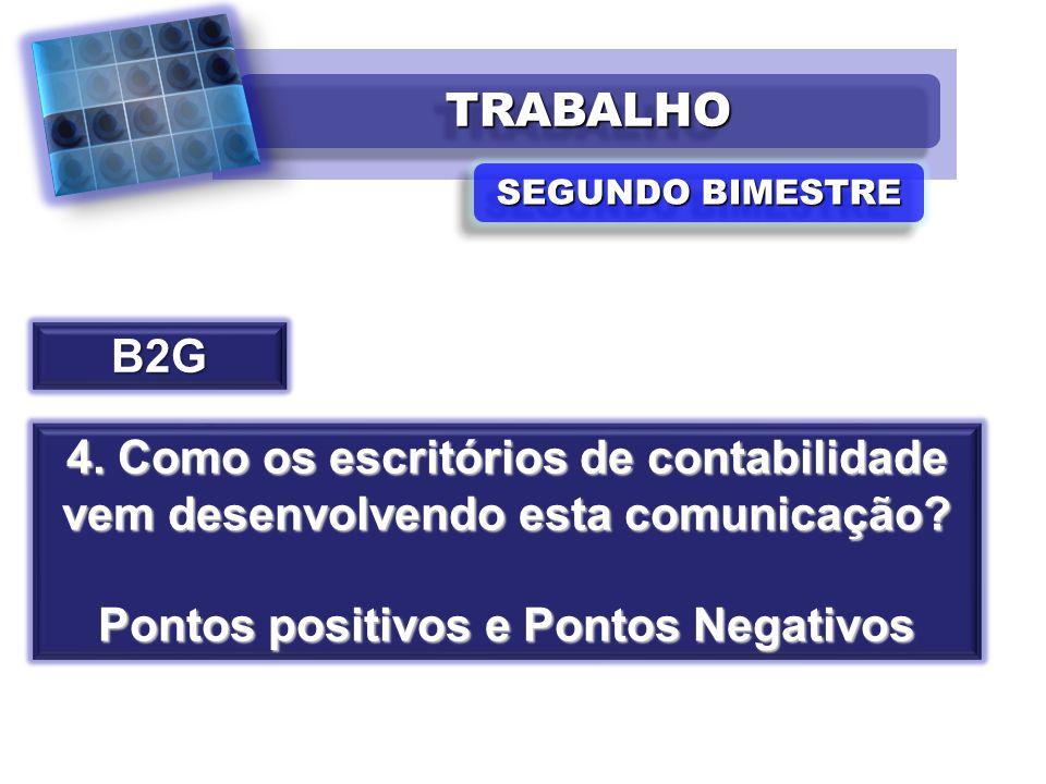 TRABALHOTRABALHO SEGUNDO BIMESTRE B2G 4. Como os escritórios de contabilidade vem desenvolvendo esta comunicação? Pontos positivos e Pontos Negativos