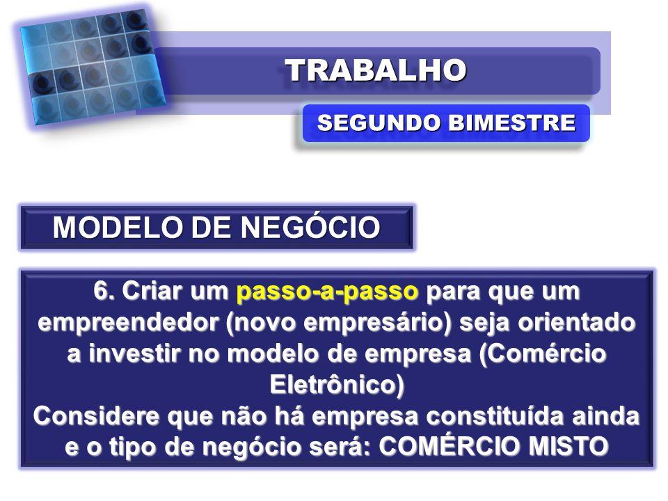 TRABALHOTRABALHO SEGUNDO BIMESTRE MODELO DE NEGÓCIO 6. Criar um passo-a-passo para que um empreendedor (novo empresário) seja orientado a investir no