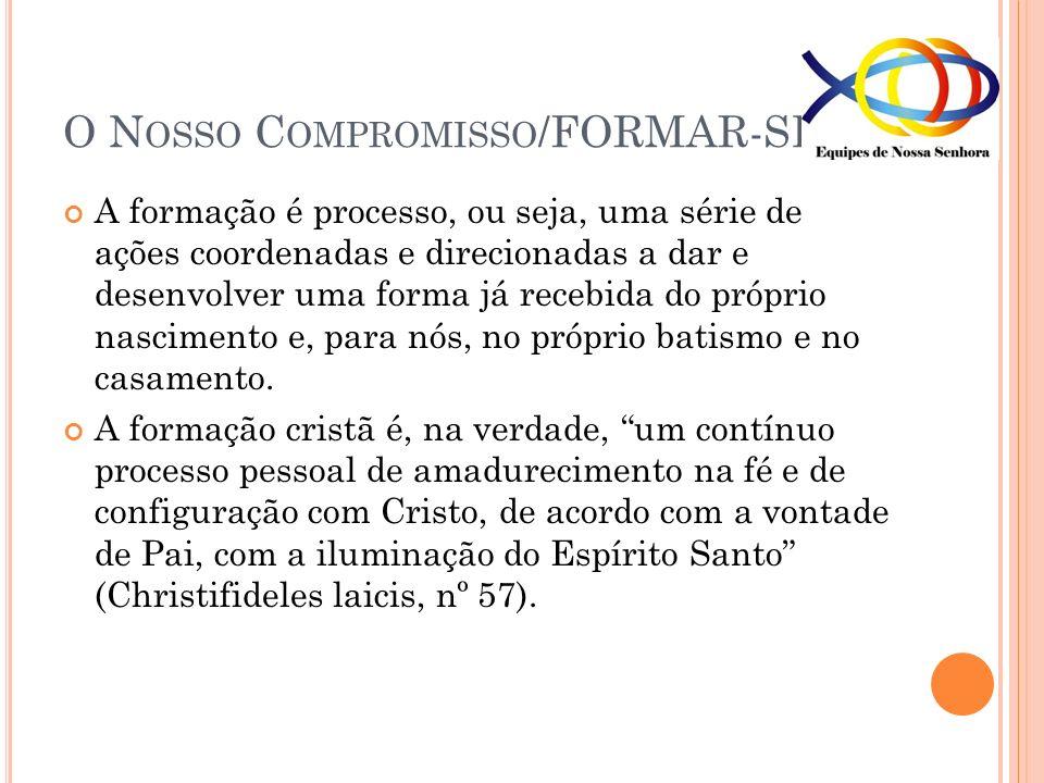 O N OSSO C OMPROMISSO /FORMAR-SE A formação é processo, ou seja, uma série de ações coordenadas e direcionadas a dar e desenvolver uma forma já recebi