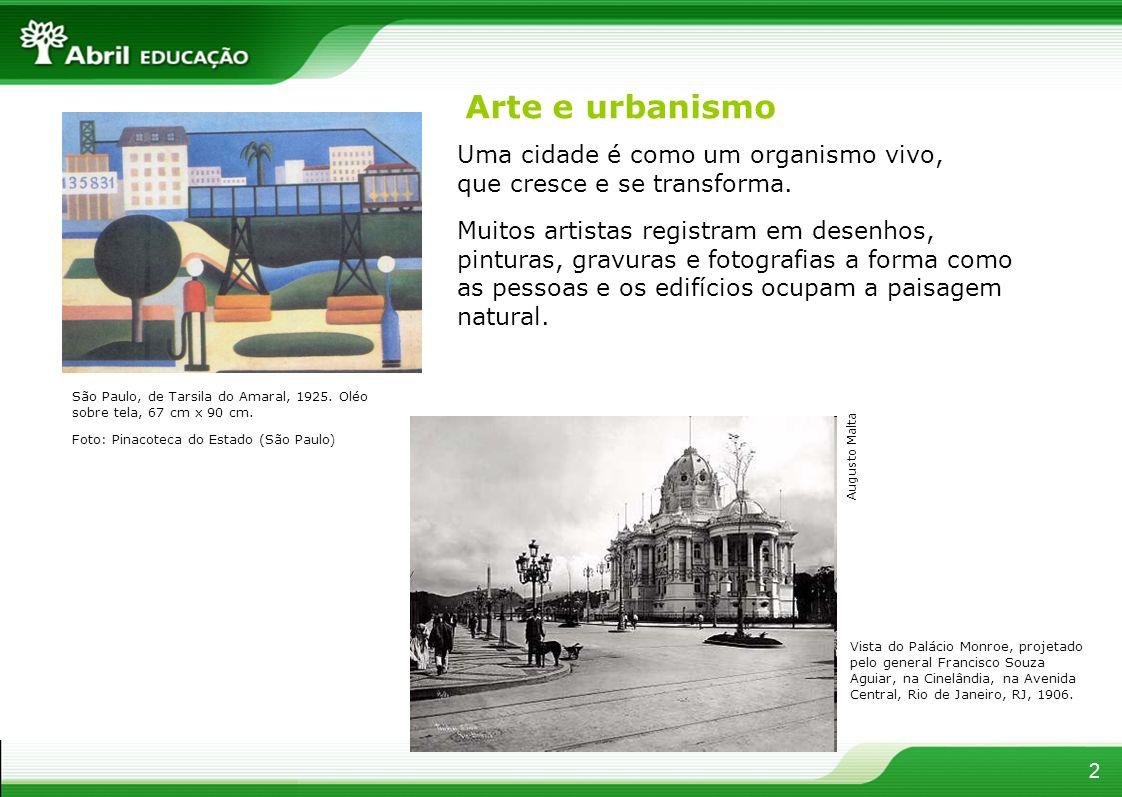 Arte e urbanismo Uma cidade é como um organismo vivo, que cresce e se transforma. São Paulo, de Tarsila do Amaral, 1925. Oléo sobre tela, 67 cm x 90 c