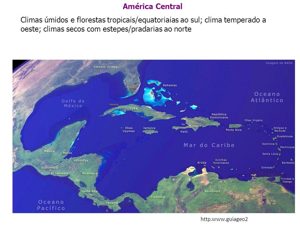 América Central Climas úmidos e florestas tropicais/equatoriaias ao sul; clima temperado a oeste; climas secos com estepes/pradarias ao norte http.www
