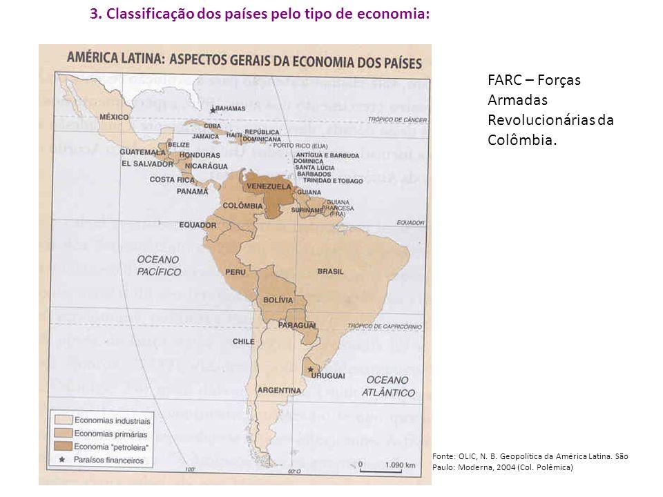 3. Classificação dos países pelo tipo de economia: Fonte: OLIC, N. B. Geopolítica da América Latina. São Paulo: Moderna, 2004 (Col. Polêmica) FARC – F