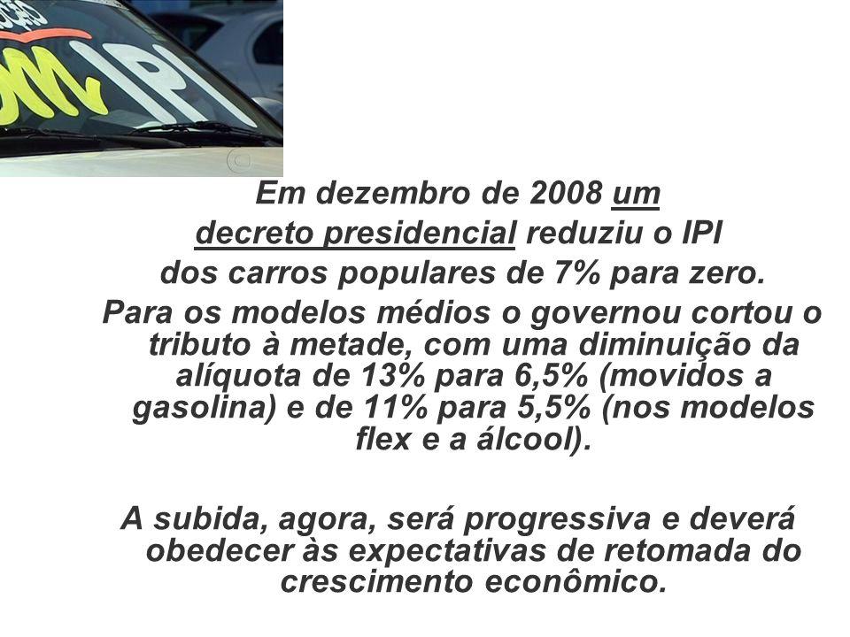 Em dezembro de 2008 um decreto presidencial reduziu o IPI dos carros populares de 7% para zero. Para os modelos médios o governou cortou o tributo à m
