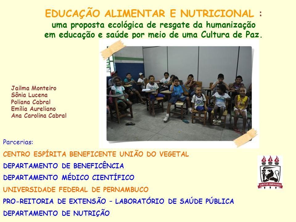 EDUCAÇÃO ALIMENTAR E NUTRICIONAL : uma proposta ecológica de resgate da humanização em educação e saúde por meio de uma Cultura de Paz. Jailma Monteir