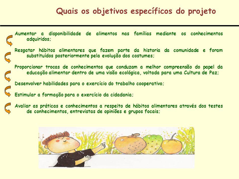 Quais os objetivos específicos do projeto Aumentar a disponibilidade de alimentos nas famílias mediante os conhecimentos adquiridos; Resgatar hábitos