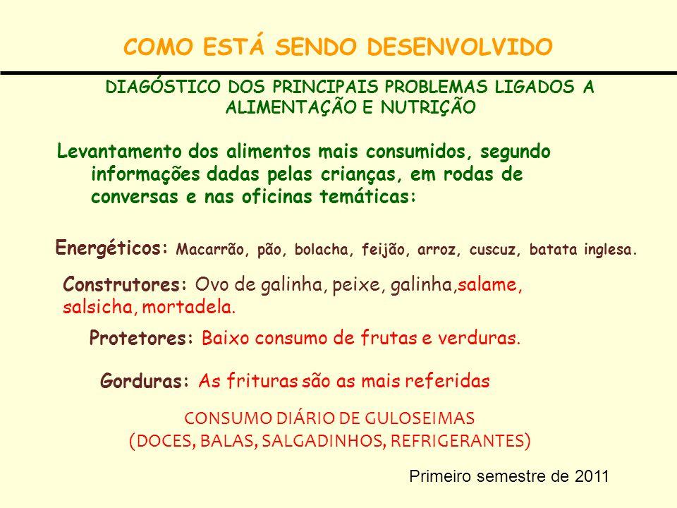 COMO ESTÁ SENDO DESENVOLVIDO Levantamento dos alimentos mais consumidos, segundo informações dadas pelas crianças, em rodas de conversas e nas oficina