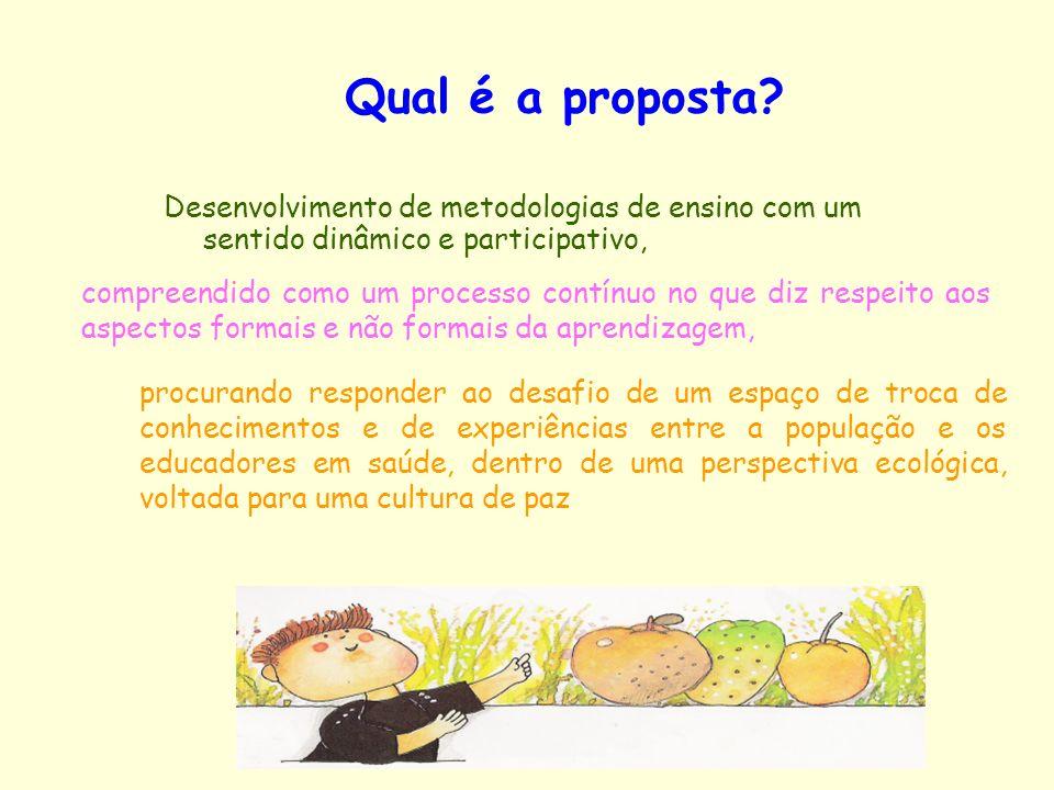 Qual é a proposta? Desenvolvimento de metodologias de ensino com um sentido dinâmico e participativo, procurando responder ao desafio de um espaço de
