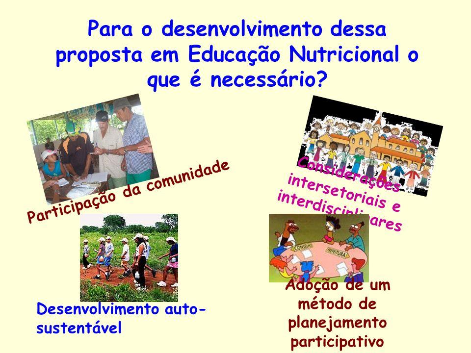 Para o desenvolvimento dessa proposta em Educação Nutricional o que é necessário? Participação da comunidade Considerações intersetoriais e interdisci