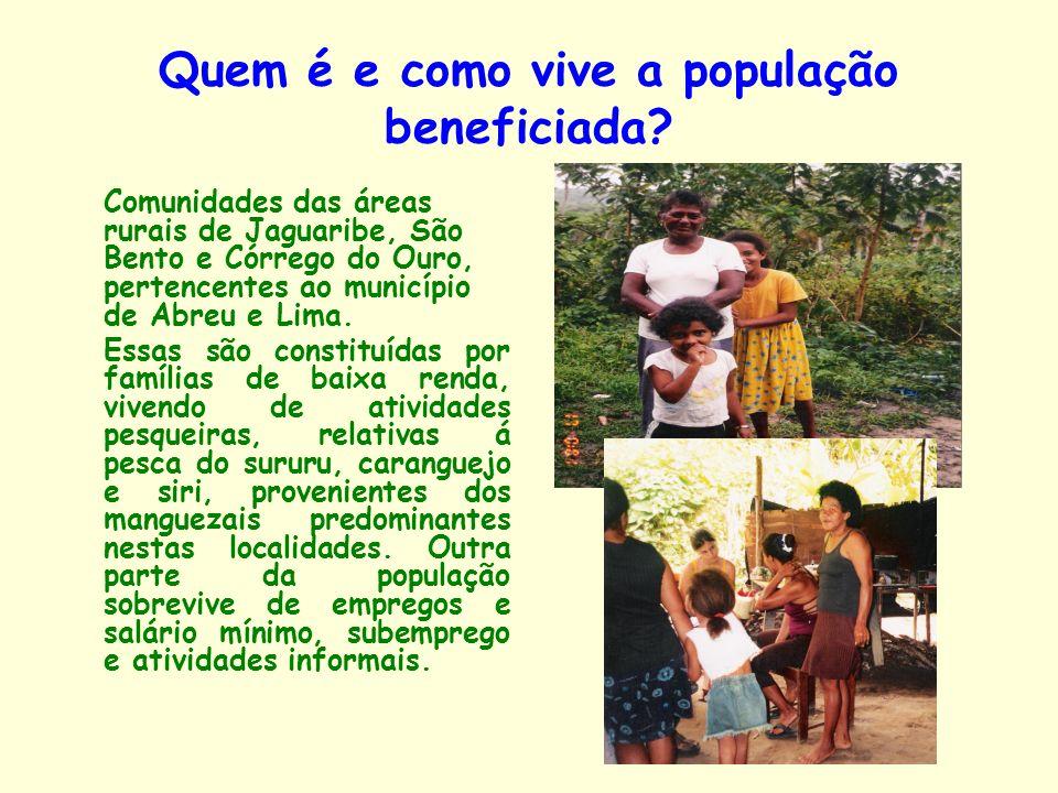 Quem é e como vive a população beneficiada? Comunidades das áreas rurais de Jaguaribe, São Bento e Córrego do Ouro, pertencentes ao município de Abreu