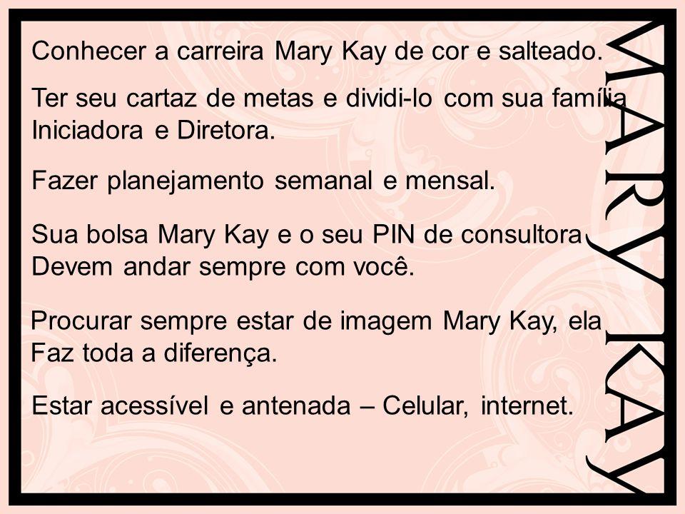 Conhecer a carreira Mary Kay de cor e salteado. Ter seu cartaz de metas e dividi-lo com sua família Iniciadora e Diretora. Fazer planejamento semanal