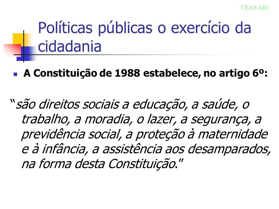 Políticas públicas o exercício da cidadania A Constituição de 1988 estabelece, no artigo 6º: são direitos sociais a educação, a saúde, o trabalho, a m