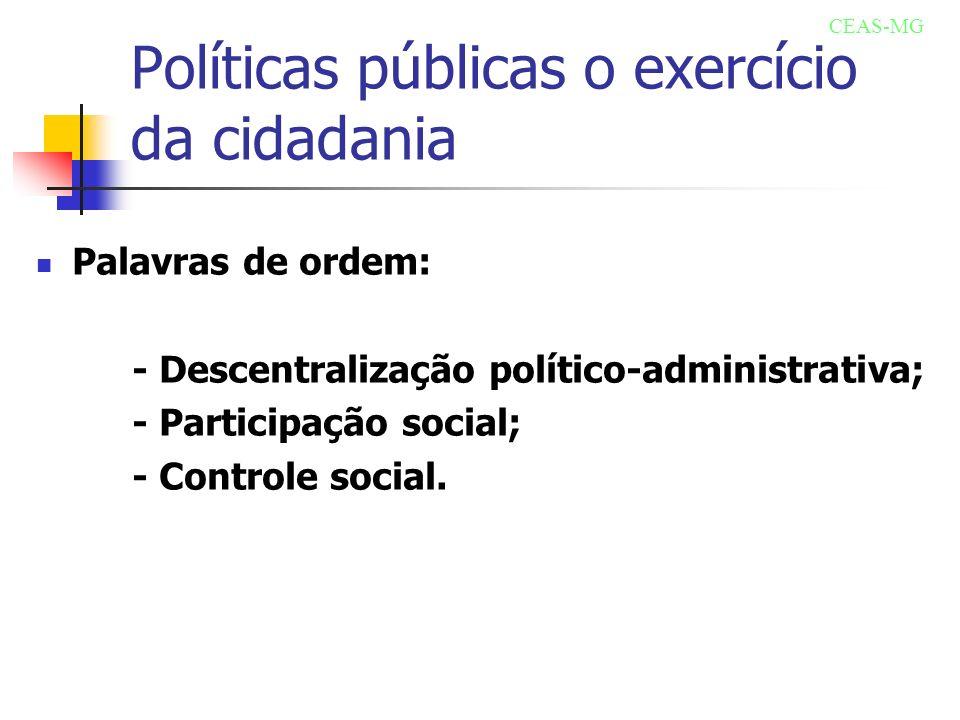 Políticas públicas o exercício da cidadania Palavras de ordem: - Descentralização político-administrativa; - Participação social; - Controle social. C