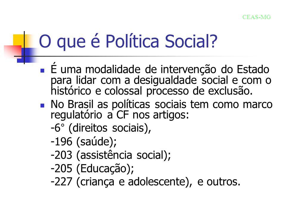 O que é Política Social? É uma modalidade de intervenção do Estado para lidar com a desigualdade social e com o histórico e colossal processo de exclu