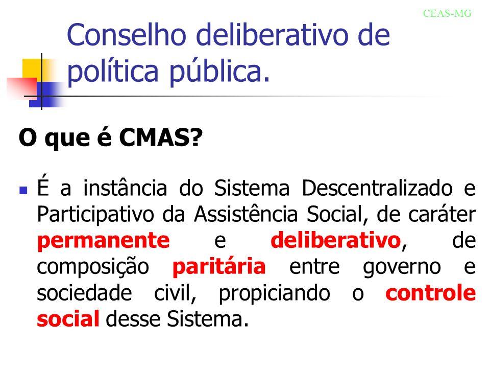 Conselho deliberativo de política pública. O que é CMAS? É a instância do Sistema Descentralizado e Participativo da Assistência Social, de caráter pe