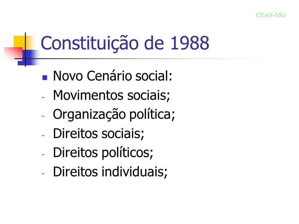 Constituição de 1988 Novo Cenário social: - Movimentos sociais; - Organização política; - Direitos sociais; - Direitos políticos; - Direitos individua