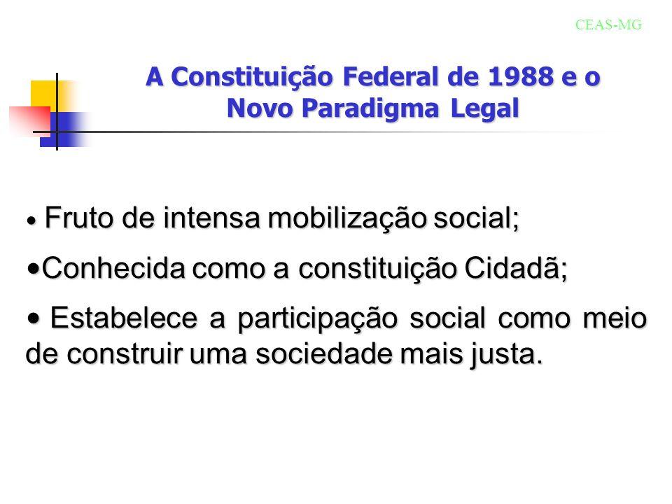 Políticas públicas o exercício da cidadania A Constituição de 1988 estabelece, no artigo 6º: são direitos sociais a educação, a saúde, o trabalho, a moradia, o lazer, a segurança, a previdência social, a proteção à maternidade e à infância, a assistência aos desamparados, na forma desta Constituição.